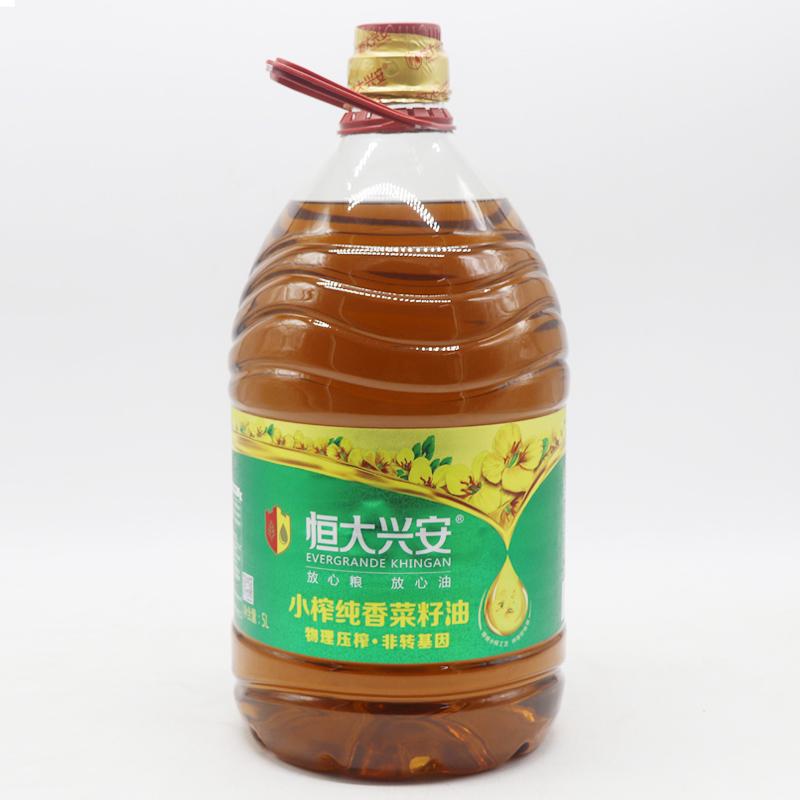 恒大兴安小榨纯香菜籽油5L*1桶