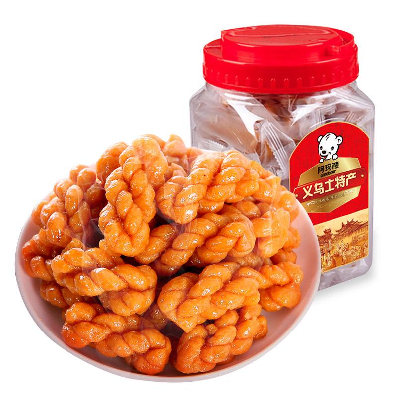 阿玛熊浙江特产红糖小麻花500g/罐