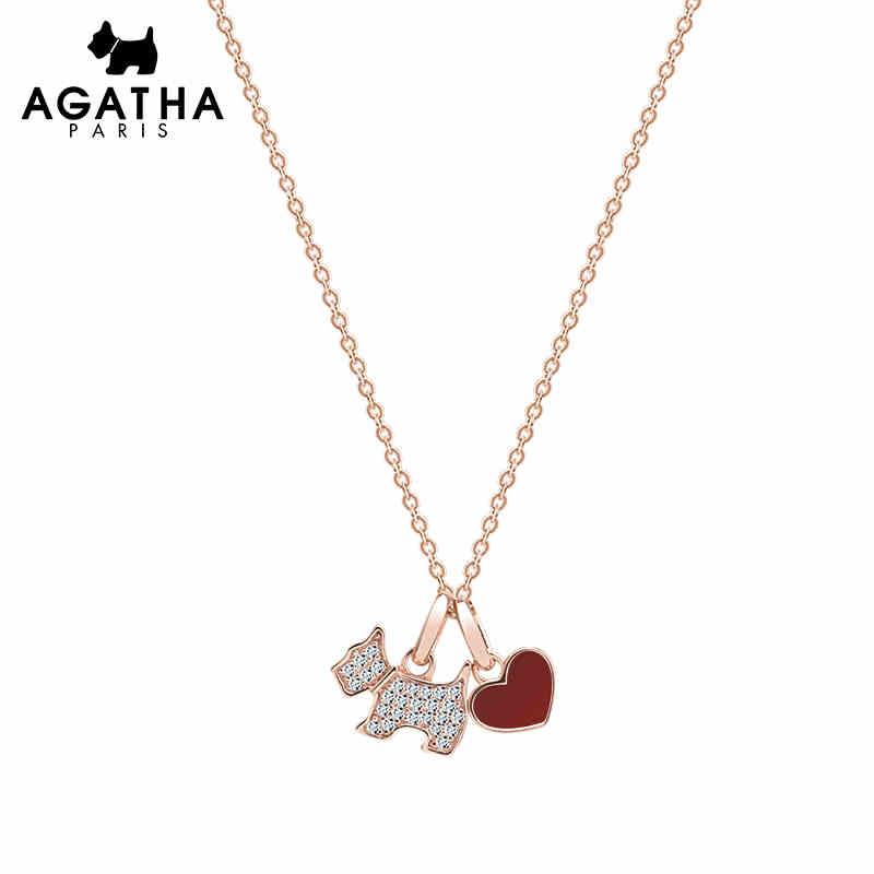 AGATHA/瑷嘉莎 甜美小狗爱心骨链项链 玛瑙玫瑰金红色爱心