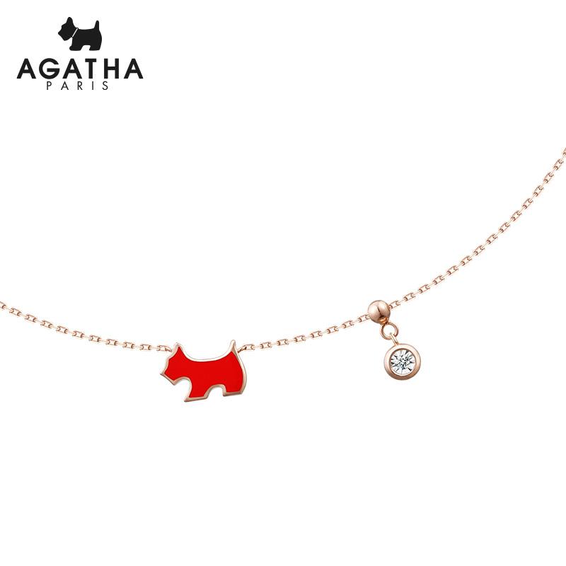AGATHA/瑷嘉莎 天然钻石小狗简约气质锁骨链