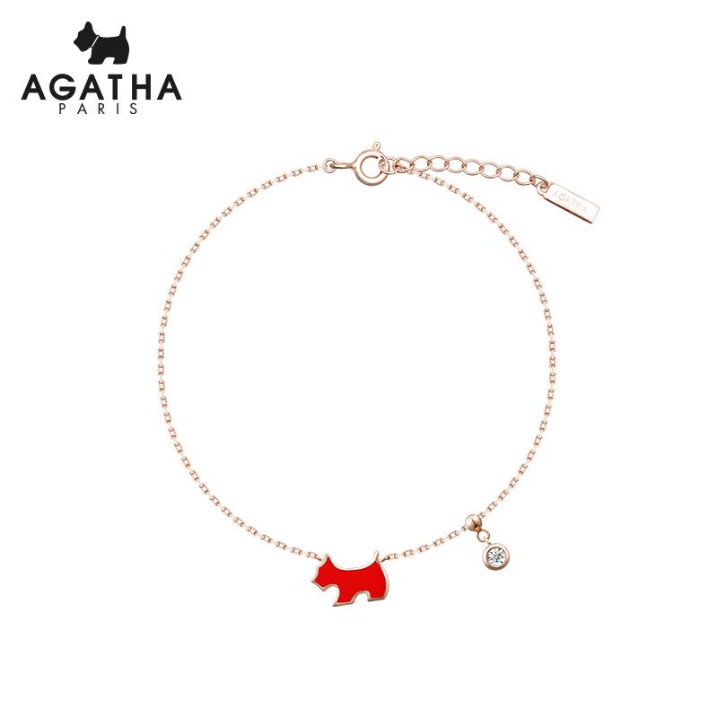 AGATHA/瑷嘉莎 天然钻石变色红小狗简约气质手链