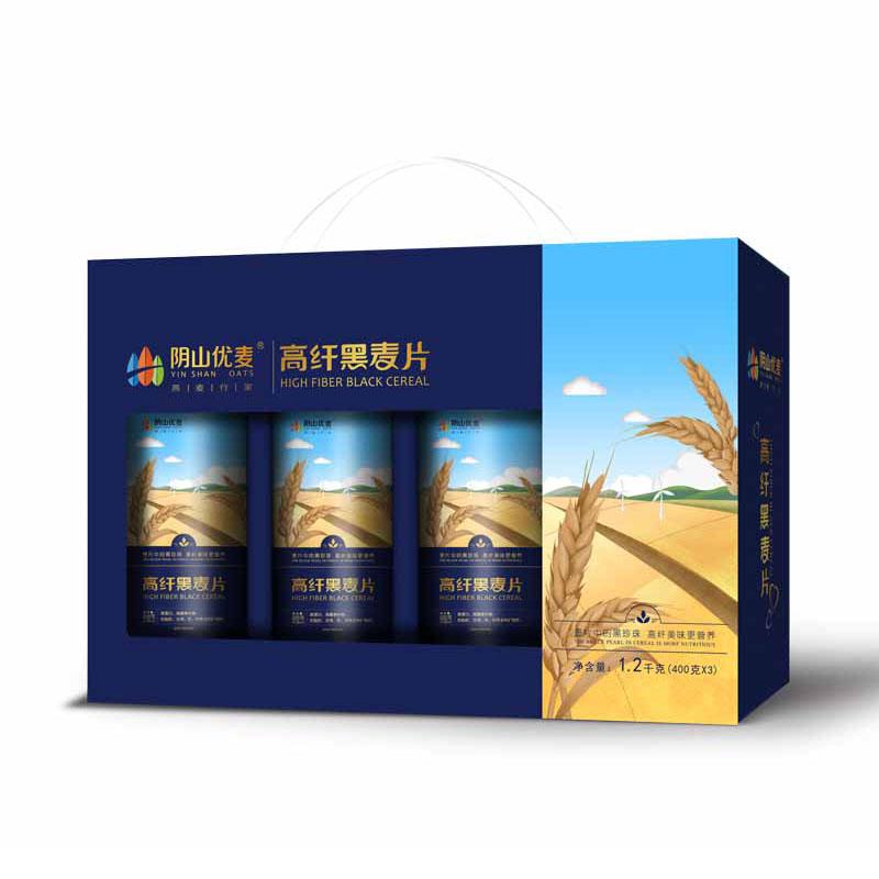 阴山优麦 高纤黑麦片礼盒1.2...